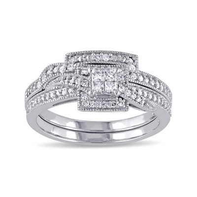 1/3 CT. T.W. Diamond 10K White Gold Multi-Top Bridal Ring Set