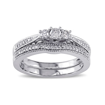 1 3 CT TW Diamond 10K White Gold Ring Bridal Set