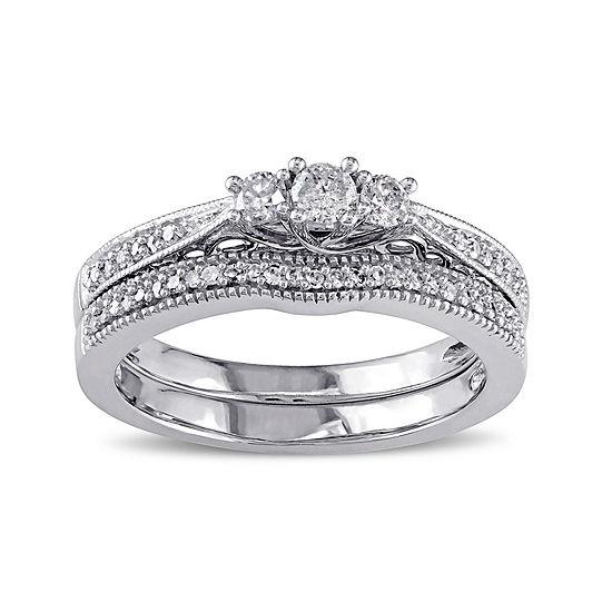 1/3 CT. T.W. Diamond 10K White Gold 2-Ring Bridal Ring Set
