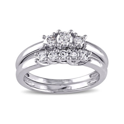 2/5 CT. T.W. Diamond 10K White Gold 3-Stone Bridal Ring Set