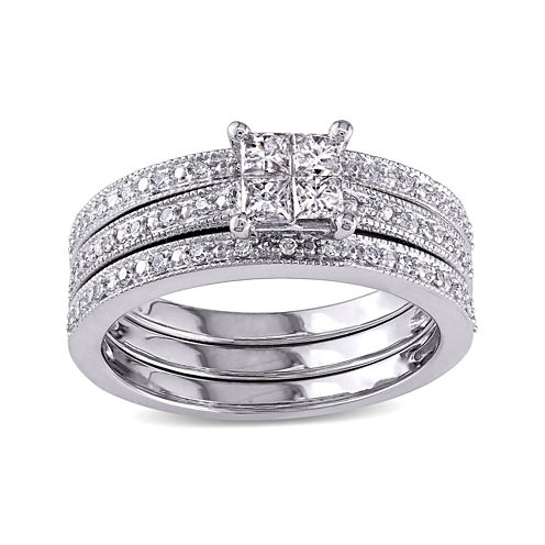 3/8 CT. T.W Diamond 10K White Gold Multi-Top Bridal Ring Set