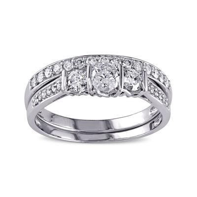 3/4 CT. T.W. Diamond 10K White Gold 3-Stone Bridal Ring Set