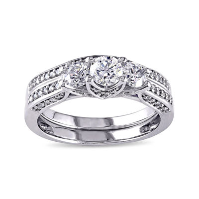 1-1/10 CT. T.W. Diamond 14K White Gold 3-Stone Bridal Ring Set
