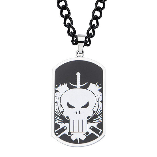 Marvel Punisher Mens Stainless Steel and Black IP Dog Tag Pendant Necklace