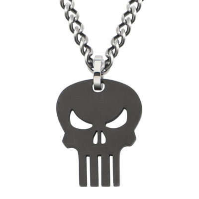 Marvel Punisher Skull Mens Stainless and Black IP Steel Pendant Necklace