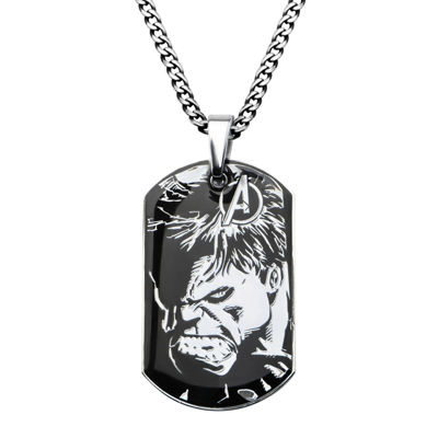 Marvel Hulk Mens Stainless Steel and Black IP Dog Tag Pendant Necklace
