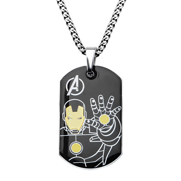 Marvel Iron Man Mens Stainless Steel and Black IP Dog Tag Pendant Necklace