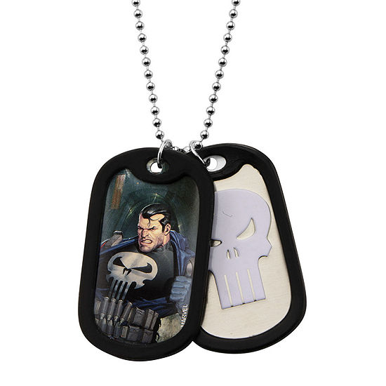 Marvel Punisher Mens Stainless Steel Double Dog Tag Pendant Necklace