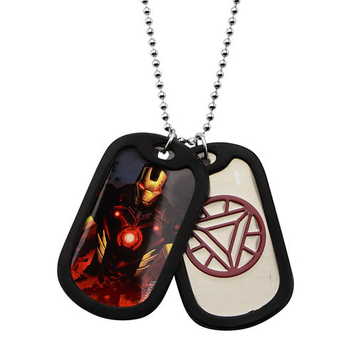 Marvel Iron Man Mens Stainless Steel Double Dog Tag Pendant Necklace