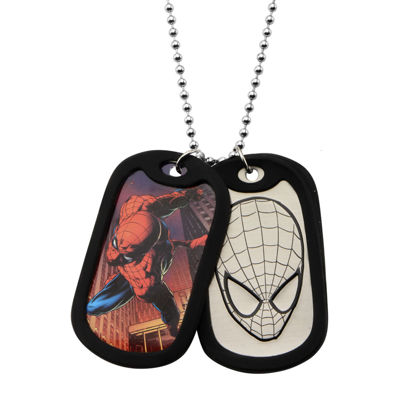 Marvel Spiderman Mens Stainless Steel Double Dog Tag Pendant Necklace
