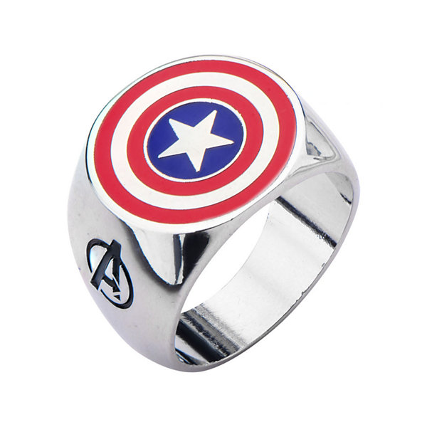 Marvel Captain America Shield Mens Stainless Steel Ring
