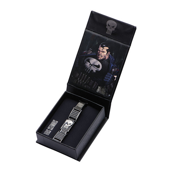 Marvel Punisher Mens Stainless Steel and Black IP Link Bracelet