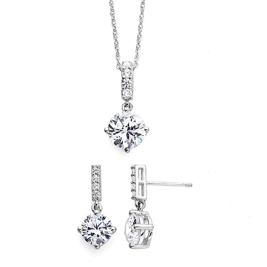 DiamonArt® Cubic Zirconia Sterling Silver Pendant Necklace and Earring Set