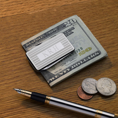 Personalized Stainless Steel Money Clip with Knife and File