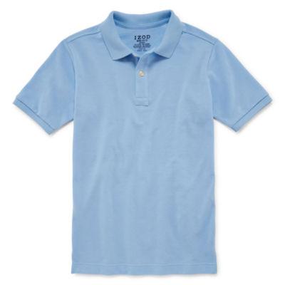 IZOD Pique Boys Husky Short Sleeve Stretch Polo Shirt
