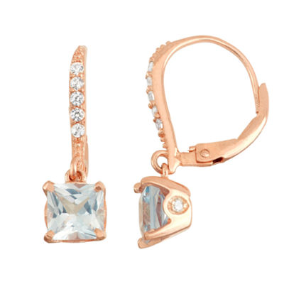 Lab Created Aquamarine & Diamond Accent 14K Rose Gold  Over Silver Earrings