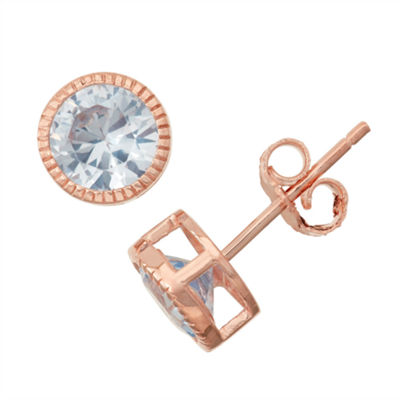 Lab Created Aquamarine 14K Rose Gold Over Silver Stud Earrings