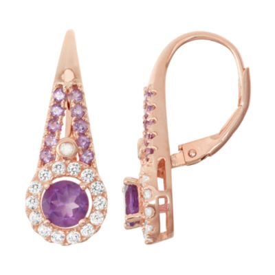 Genuine Amethyst, Lab Created White Sapphire & Diamond Accent 14K Rose Gold  Over Silver Earrings