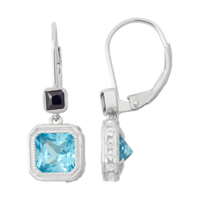 Genuine Swiss Blue Topaz & Lab Created White Sapphire Sterling Silver Earrings