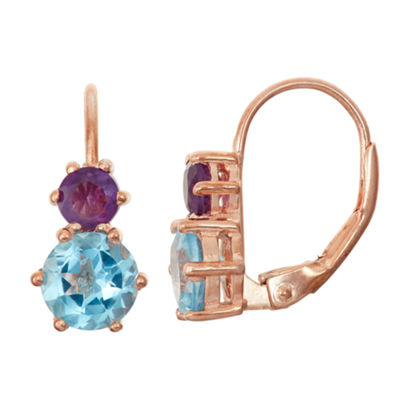 Genuine London Blue Topaz & Genuine Amethyst 14K Rose Gold Over Silver Earrings