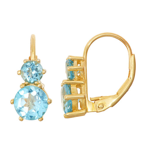 Genuine Swiss Blue Topaz 14K Gold Over Silver Earrings