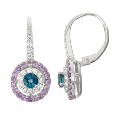 Genuine Blue Topaz & Genuine Amethyst Sterling Silver Earrings