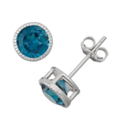 Genuine London Blue Topaz Sterling Silver Stud Earrings