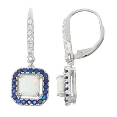 Lab Created Opal, Lab Created Sapphire, And Diamond Accent Sterling Silver Earrings
