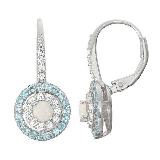 Lab Created Opal & Genuine Swiss Blue Topaz Sterling Silver Earring