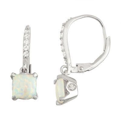 Lab Created Opal & Diamond Accent 14K Rose Gold Over Silver Earrings