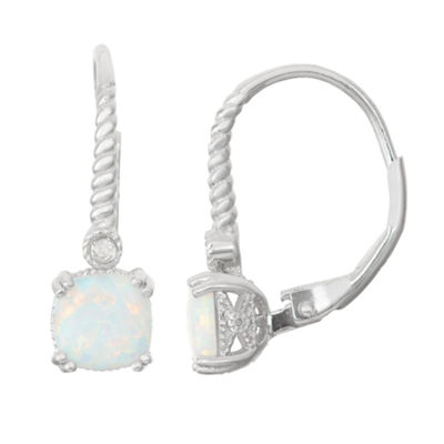 Lab Created Opal & Diamond Accent Sterling Silver Earrings
