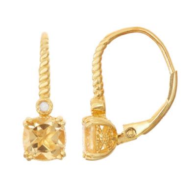 Genuine Citrine & Diamond Accent 14K Gold Over Silver Earrings