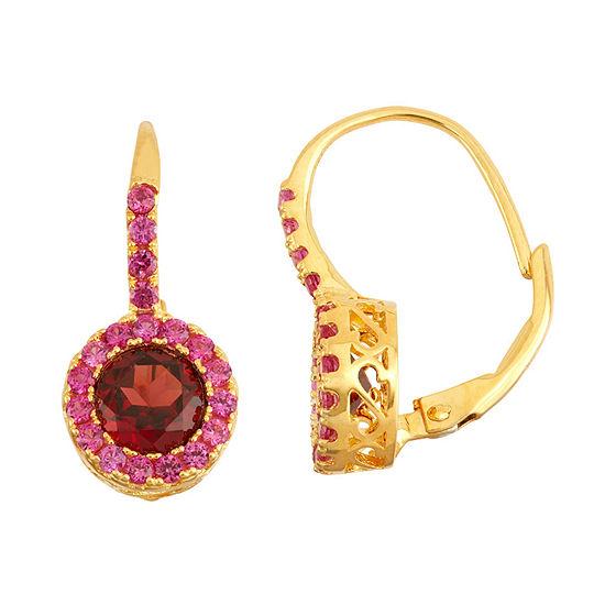 Genuine Garnet & Lab Created Ruby 14K Gold Over Silver Earrings