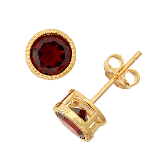 Lab Created Garnet 14K Gold Over Silver Stud Earrings