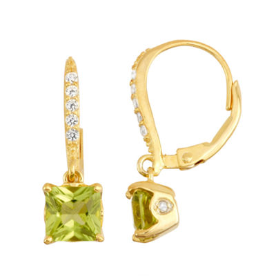 Genuine Peridot & Diamond Accent 14K Gold Over Silver Earrings