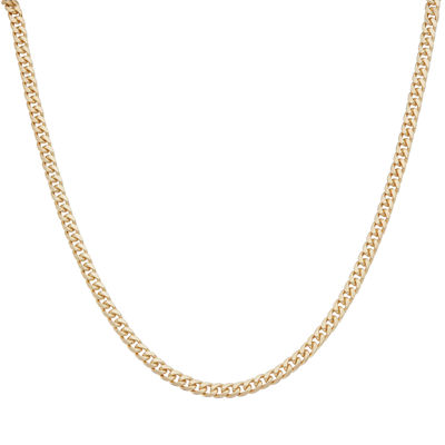 """Mens 24"""" 18K Yellow Gold Over Silver Flat Curb Chain Necklace"""