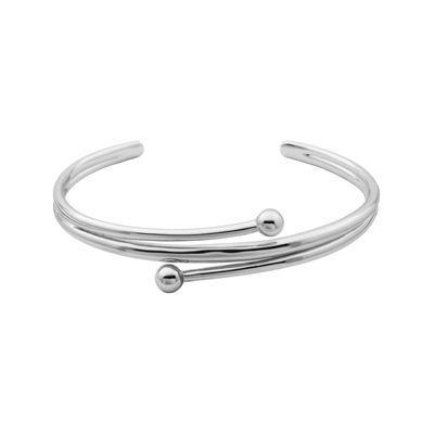 Sterling Silver Double Bead Cuff Bracelet