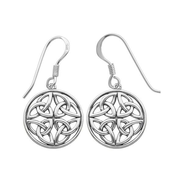 Sterling Silver Celtic Circle Drop Earrings