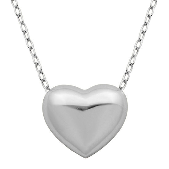 Sterling silver puffed heart pendant necklace jcpenney sterling silver puffed heart pendant necklace aloadofball Images