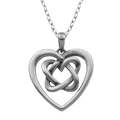 Sterling Silver Celtic Knot Heart Pendant Necklace