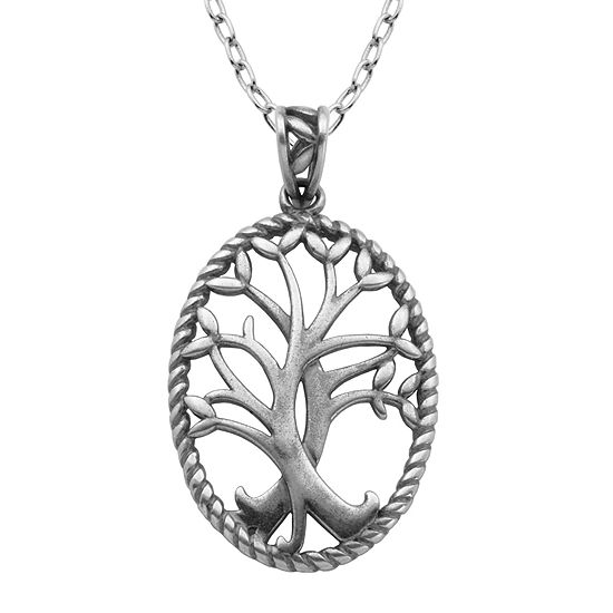 Sterling Silver Celtic Tree Oval Pendant Necklace