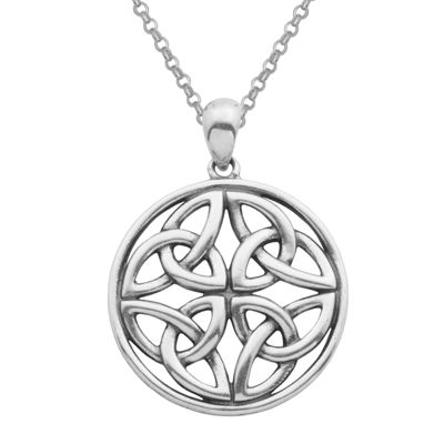Sterling Silver Celtic Knot Circle Pendant Necklace