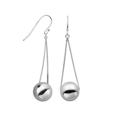 Sterling Silver Bead Drop Wire Earrings