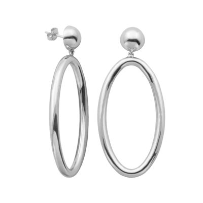 Sterling Silver Bead Oval Drop Hoop Earrings
