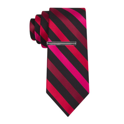JF J. Ferrar® Patterson Stripe Tie with Tie Bar - Slim