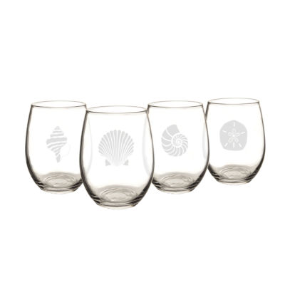 Cathy's Concepts Set of 4 Seashell Stemless Wine Glasses