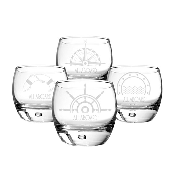 Cathy's Concepts Set of 4 Nautical Heavy-Based Whiskey Glasses