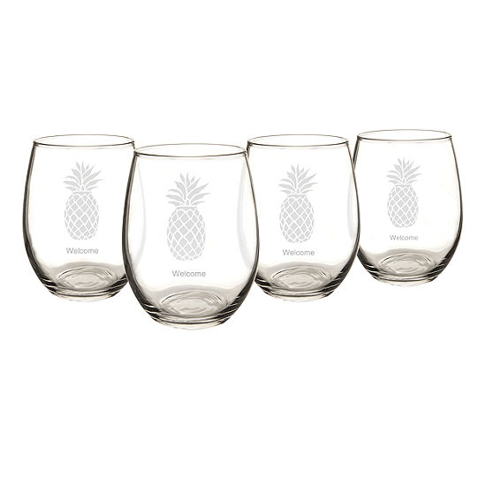 Cathy's Concepts Set of 4 Pineapple Stemless Wine Glasses