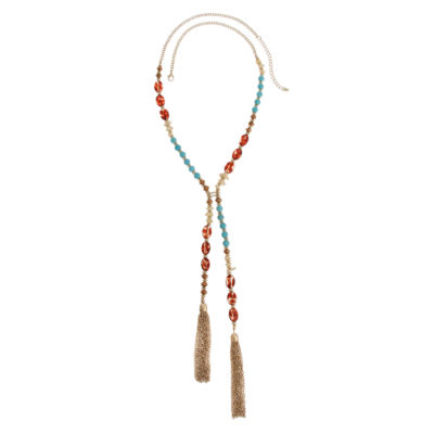 Mixit Womens Blue Round Beaded Necklace