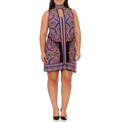 Tiana B Sleeveless Paisley Sheath Dress-Plus